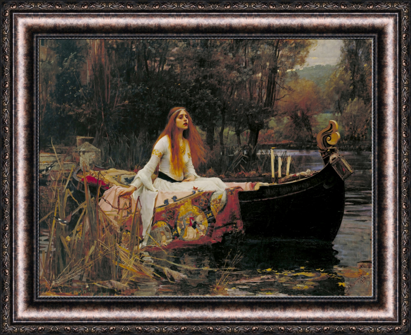john william waterhouse the lady of shalott framed canvas 33 5 x27 v01 17 ebay. Black Bedroom Furniture Sets. Home Design Ideas