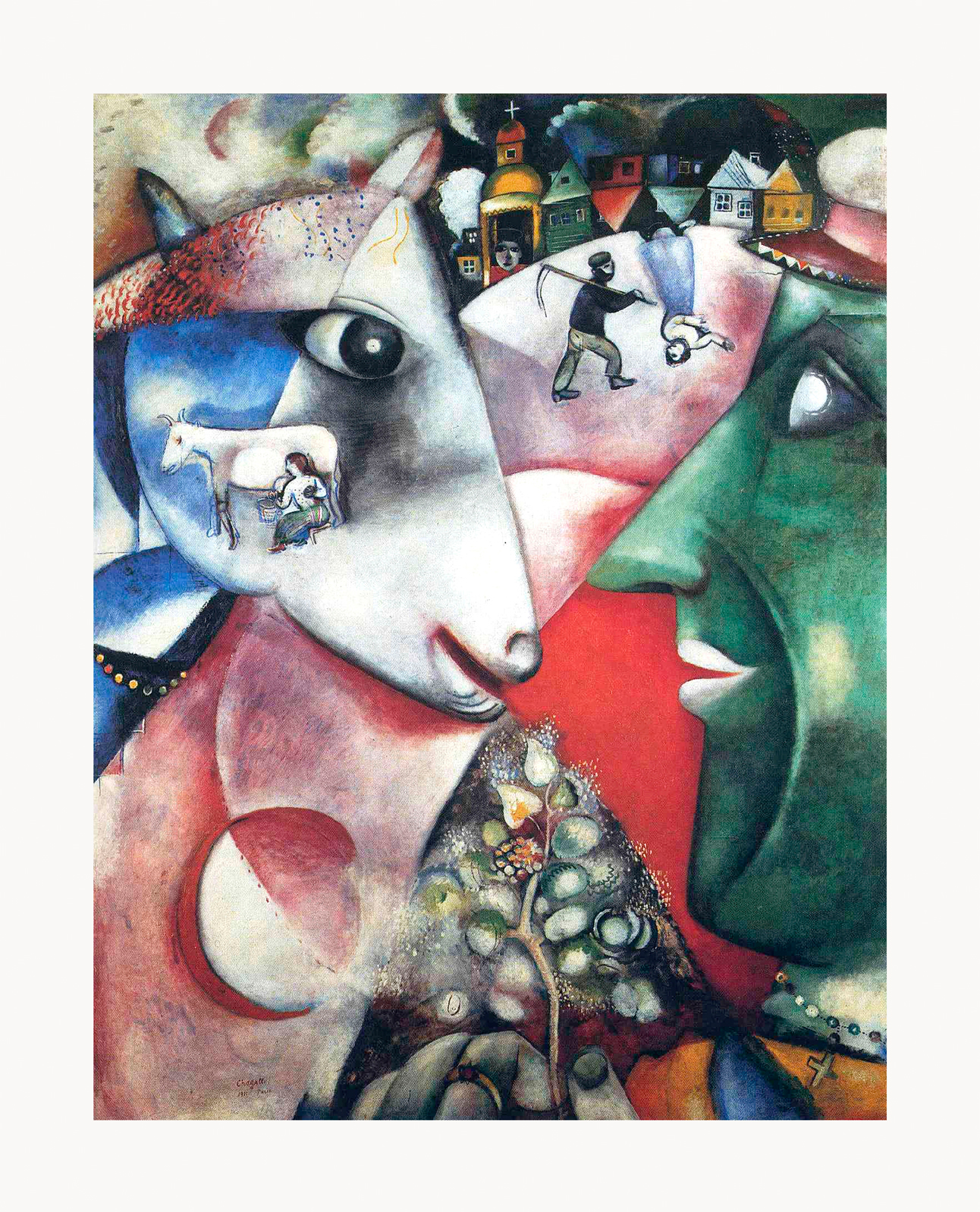 Marc Chagall I and the Village Framed Canvas Giclee Print ...
