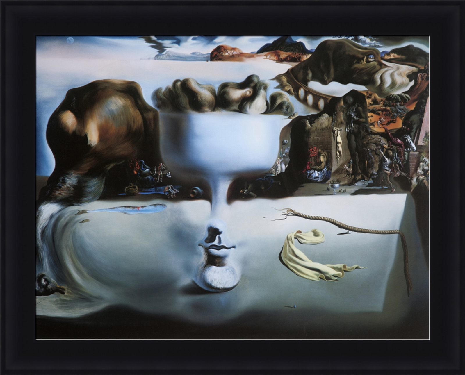 an analysis of the painting apparition of a face and a fruit dish on beach by salvador dali At one glance the spectator sees a desolate beach at another a face at another a footed dish filled with pears and again a profile of a dog these im.