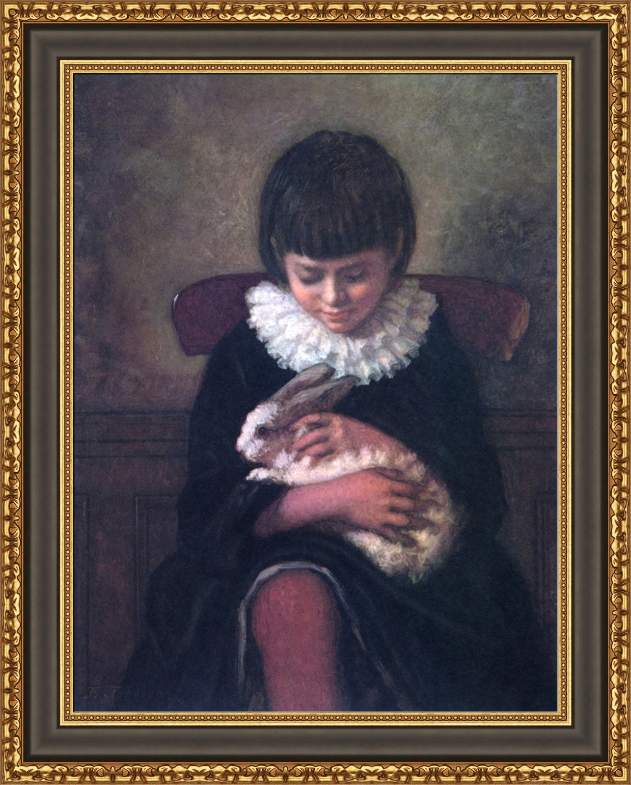 Eastman Johnson Child Playing With Rabbit Framed Canvas