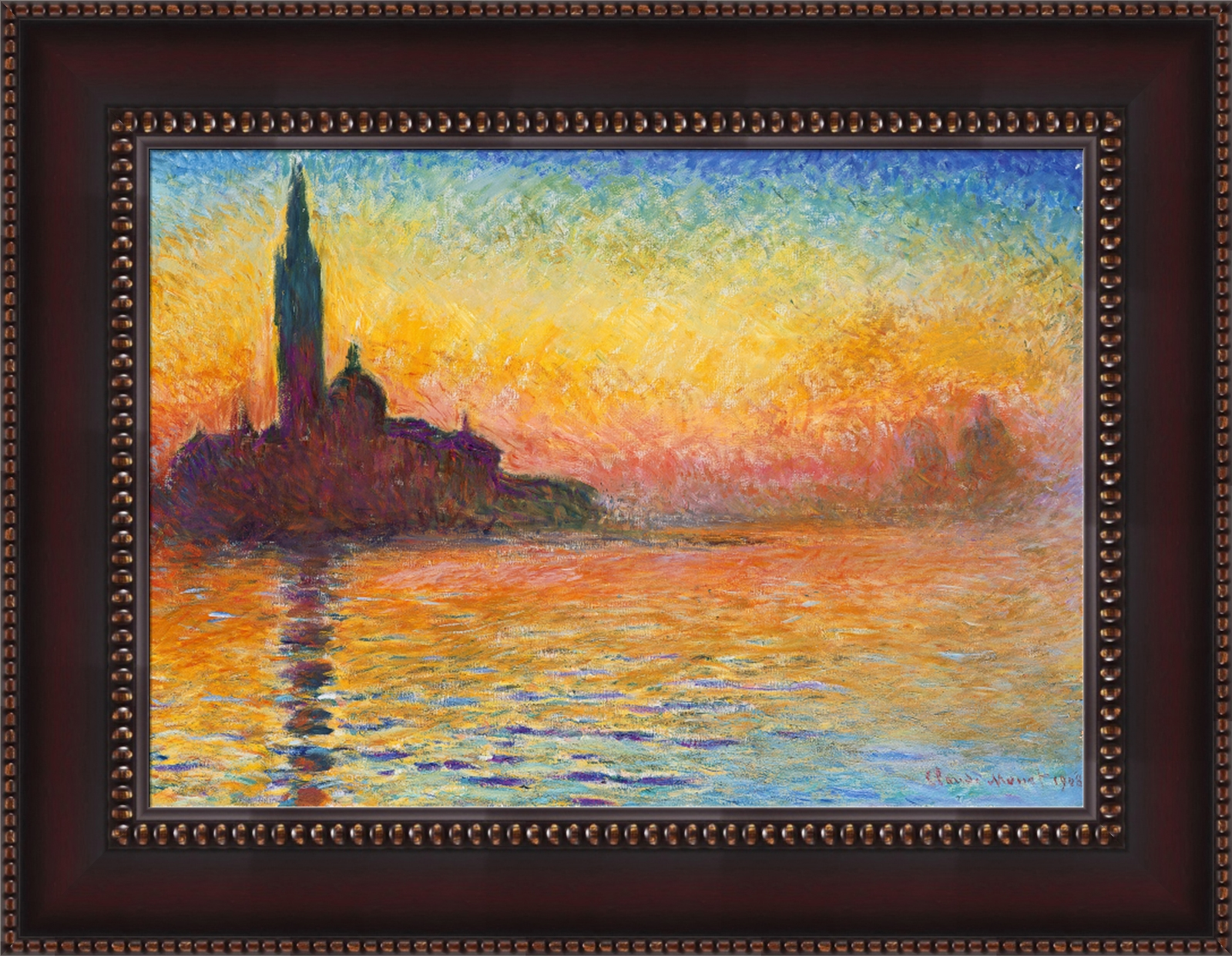 claude monet san giorgio maggiore at dusk framed canvas. Black Bedroom Furniture Sets. Home Design Ideas